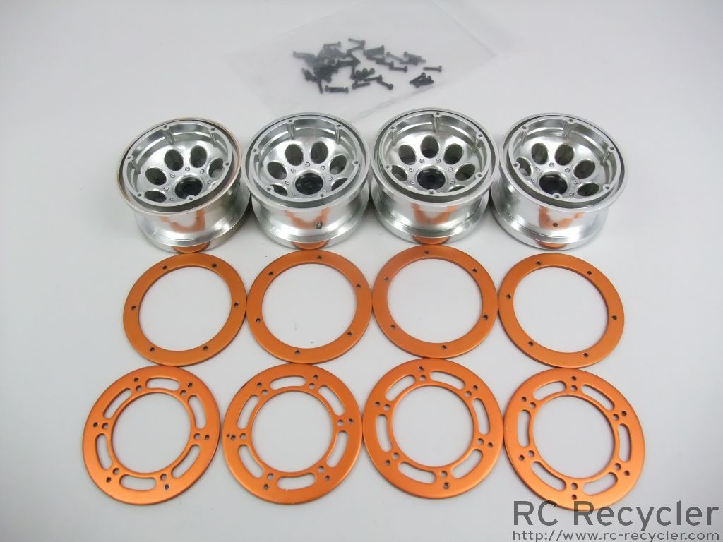 Axial 2.2 8 Hole Beadlock Wheels AX8097 Rock Crawler Scale Orange